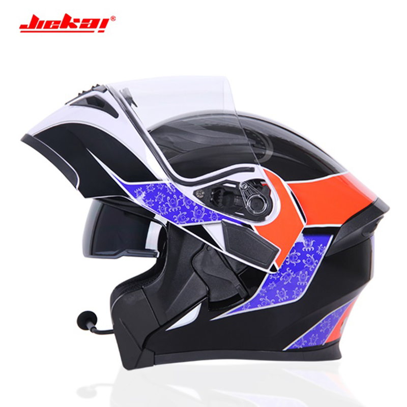 Motorcycle bluetooth racing Helmets men ECE dot waterproof casque moto Washed Inner Deodorant Flip Up MOTO helmet