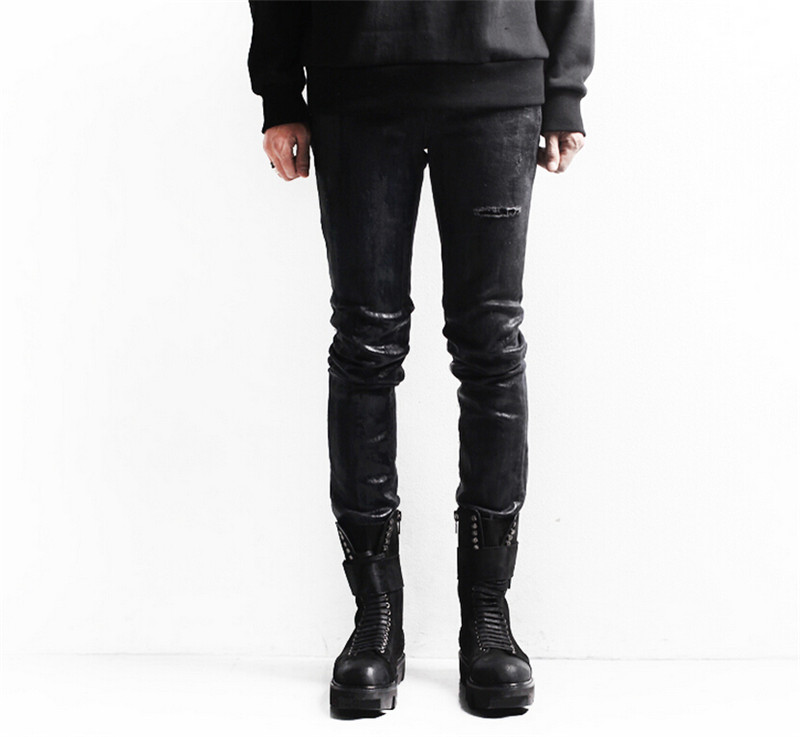 Mens Skinny jeans men 2015 Runway Distressed slim elastic jeans denim Biker jeans hiphop pants Washed