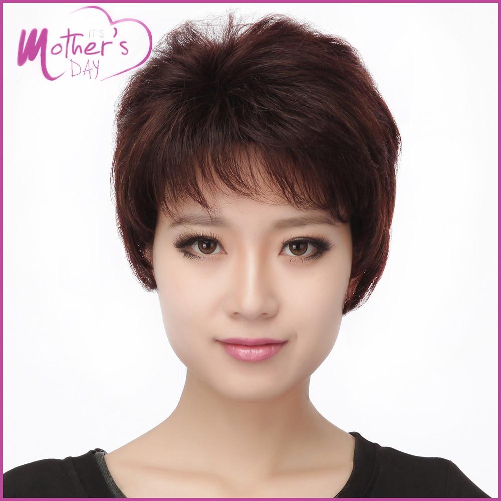 Nyata rambut wig Muda Ibu Hadiah Korea Wig Gaya Rambut 100% Kualitas Tinggi  Kanker Huamn Rambut Pendek Wig untuk Wanita Peruca di dari AliExpress.com  ... 6749db46ff