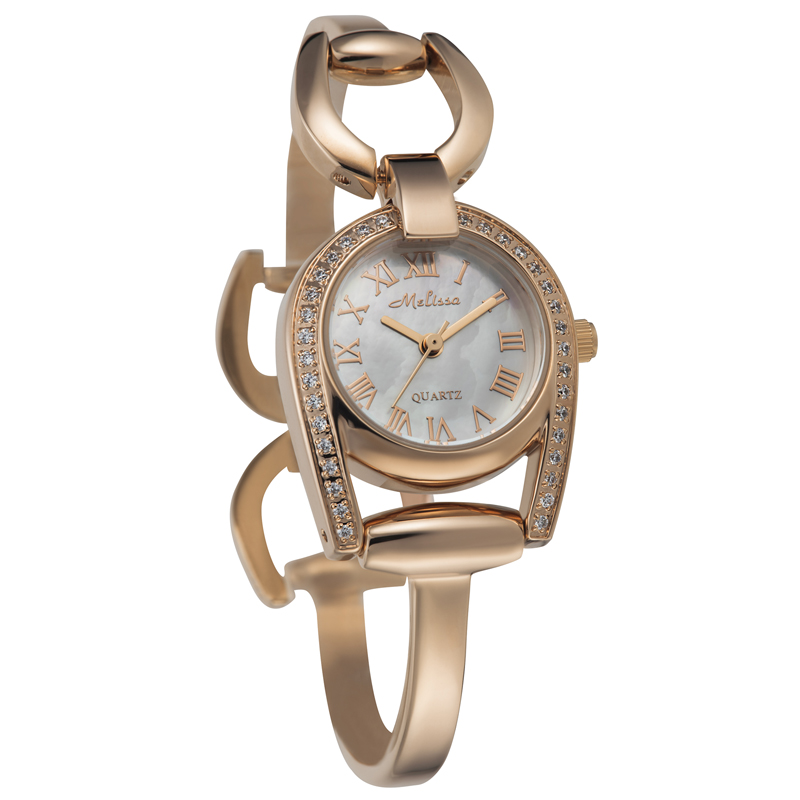 Melissa Bangle Lady Women s Watch Japan Quartz Mother of pearl Hours Fine Fashion Luxury Rhinestones