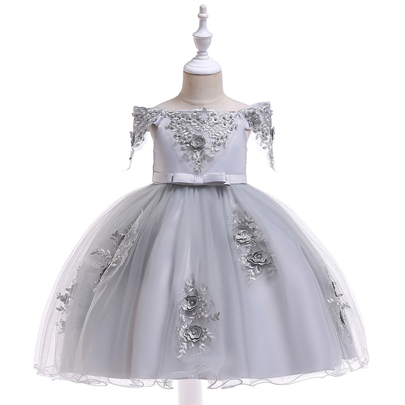 Embroidered Pearl Flower Girls Dress Kids Princess Wedding Prom Designs Ball Gown Teenager Evening Dresses For Girl Clothes (10)
