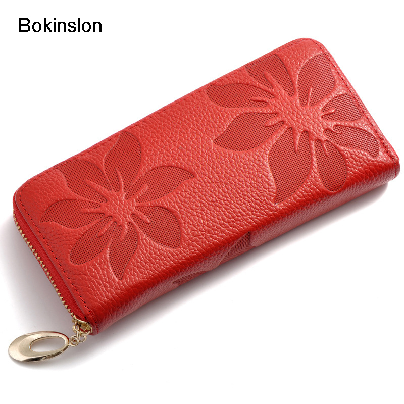 Bokinslon Long Section Wallet Women Embossed PU Leather Popular Woman Purse Casual Practical Girls Zipper Wallet Fashion
