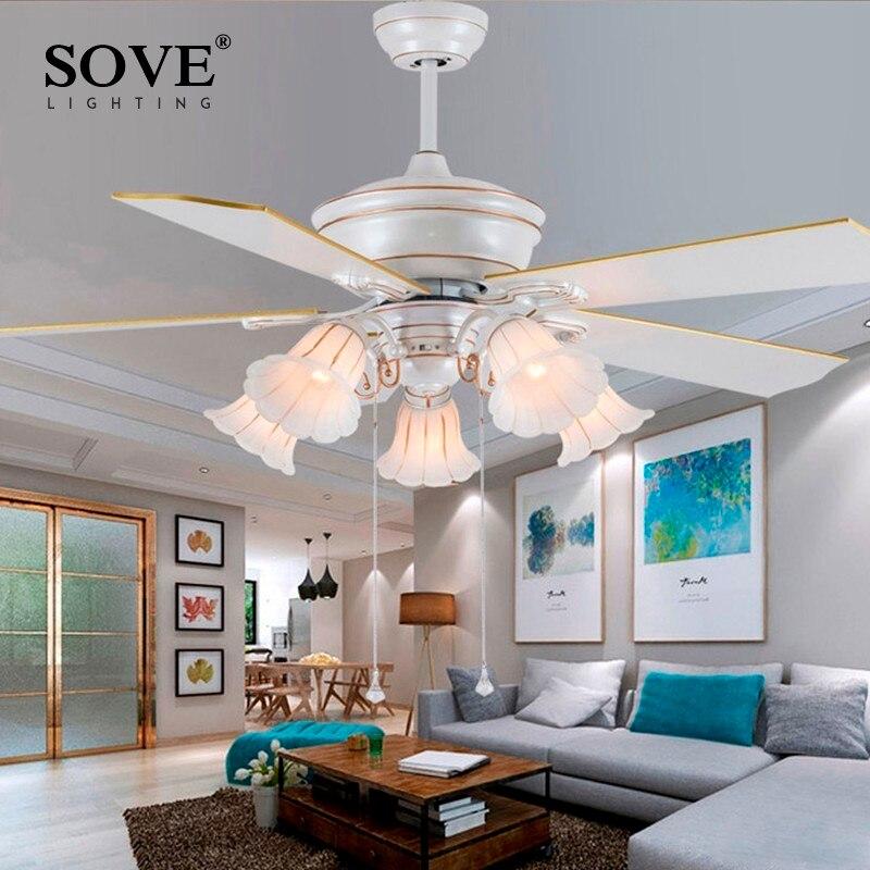 Souve 52 Pouce Européenne Moderne Blanc Ventilateurs de Plafond Avec Des Lumières Restaurant Salon Chambre Plafonnier Ventilateur 220 Volts Ventilateur lampe