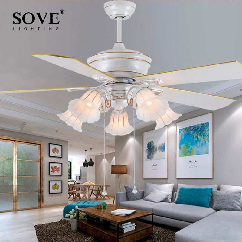 sove 52 inch european modern white ceiling fans with lights restaurant living room bedroom. Black Bedroom Furniture Sets. Home Design Ideas