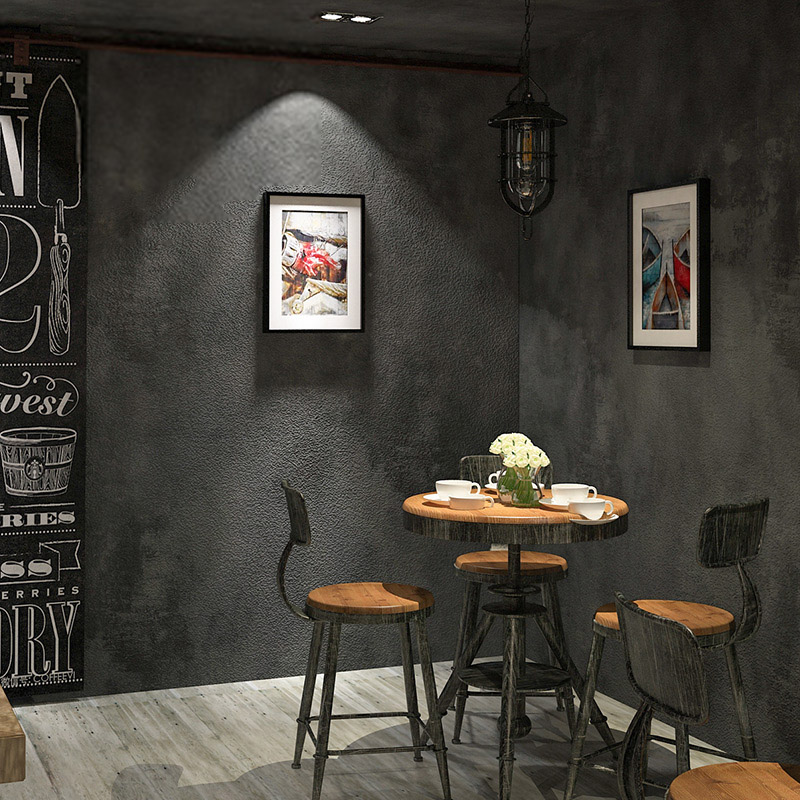 PVC Wallpaper Modern Vintage Grey Cement Background Wall Paper Rolls For Walls 3 D Restaurant Cafe Living Room Study Home Decor