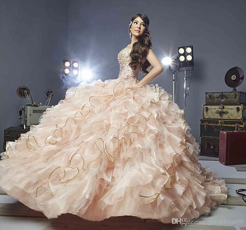 6e88c6976a4 2017 Blush Pink Quinceanera Dresses Ball Gown Ruffles Sequined Beaded Tulle  Appliques Cheap Vestidos De 15 Anos Sweet 16 Dress