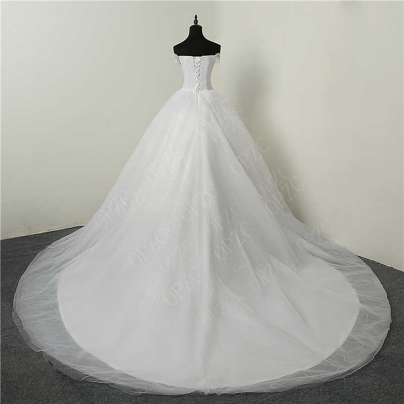 ce248e6bd5e ... 30% Hot Sale Fashion Simple Lace Tull 2018 Wedding Dresses 100cm Long  Train Boat Neck ...