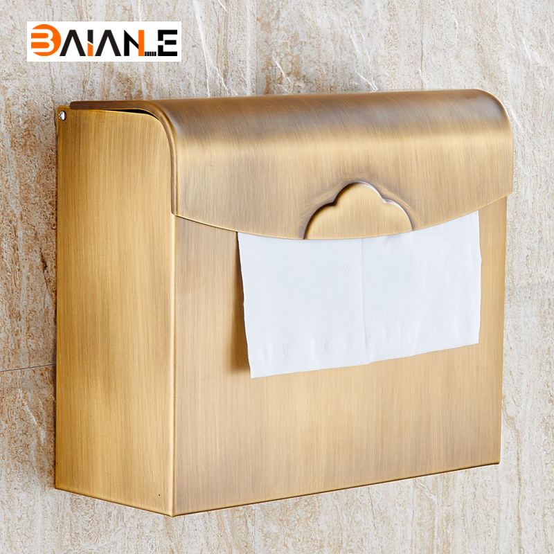 Wall Mounted Paper Holder Antique Brass Paper Box Holders waterproof Bathroom Accessories Sanitary wares