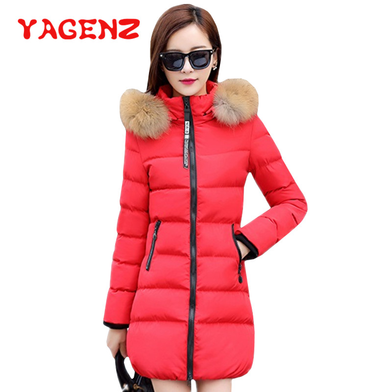 YAGENZ Winter Jacket Coat Women Plus Size M-5XL   Parka   Long Hooded Outerwear With Fur Collar Fashion Coats Female Down Jacket 210