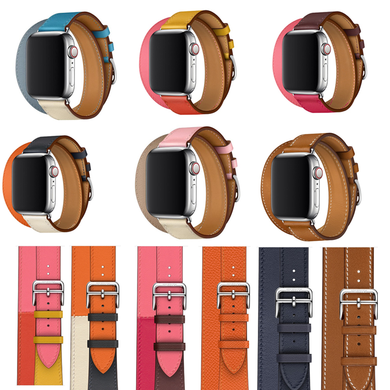 40 44mm Double Tour Genuine Leather Strap For Apple Watch Band 42mm 38mm Bracelet Wrist Belt For Iwatch Series 5/4/3/2/1 Hermes