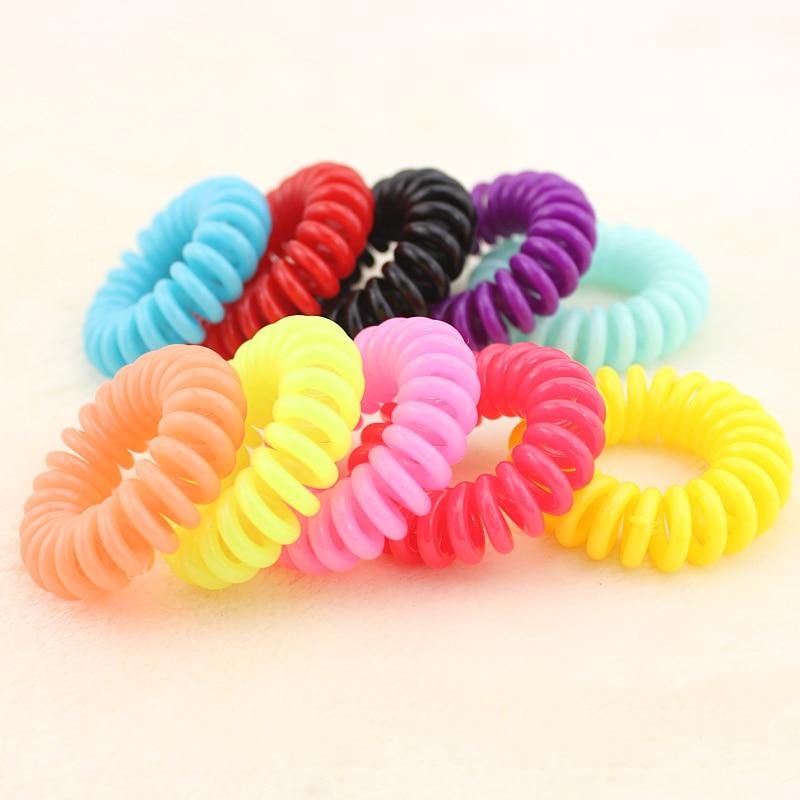 Ultra elastic high quality telephone cord circle headband tousheng hair rope 12PCS A set