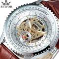 Top Brand SEWOR Fashion Casual Automatic Mechanical Watch Mens Women Wristwatches Luxury Leather Hour Clock relogio masculino