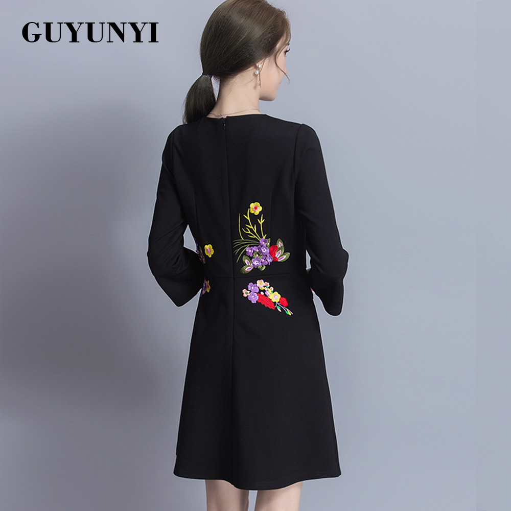 Plus Size Women's Clothing Slim Embroidery Dress Three-Quarter F Sleeve 2017 Spring Temperament Casual Dress CX514