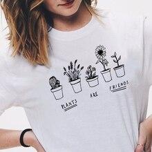 Végétalien mignon plantes sont amis T petit haut femmes Hipster Tumblr drôle mignon Cool Kawaii vêtements été à manches courtes t shirts