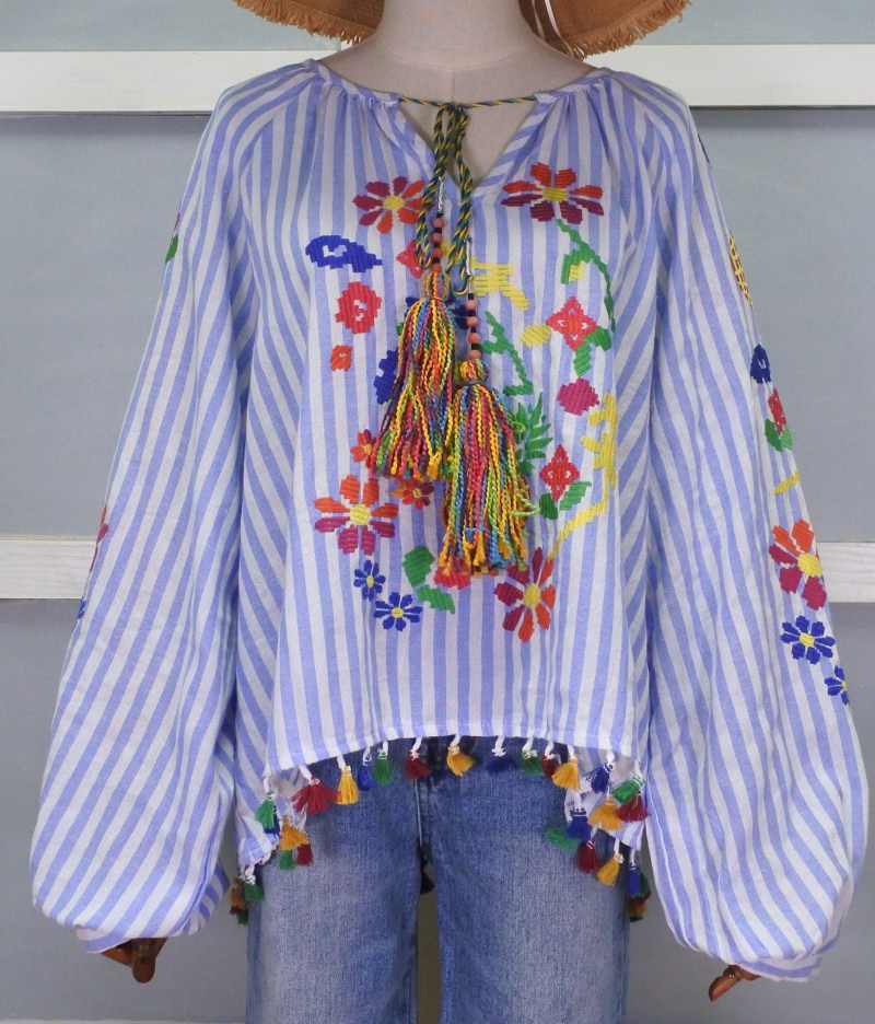Vintage Embroidery Shirts Women Tunic Summer Clothing Loose Long Sleeve Lace up Fringes White Cotton Ethnic Blouse Shirt Blusas