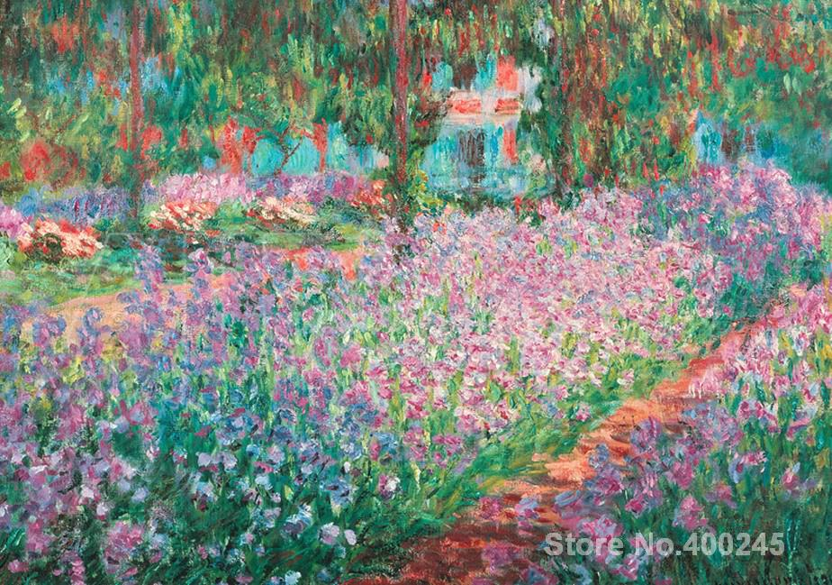 Christmas Gift art on Canvas Jardin A Giverny by Claude Monet Painting High Quality Handmade