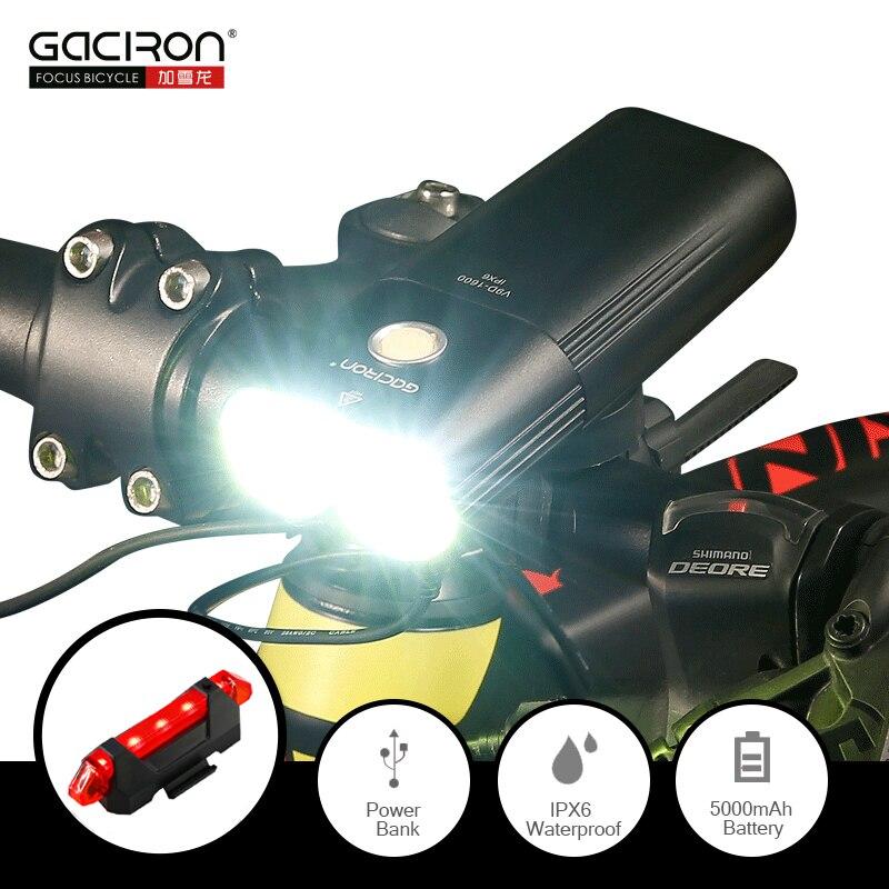 GACIRON 1600 Lumens Bicycle Light MTB Headlight Power Bank Waterproof USB Rechargeable Road Bike Lamp Flashlight FREE Tail light