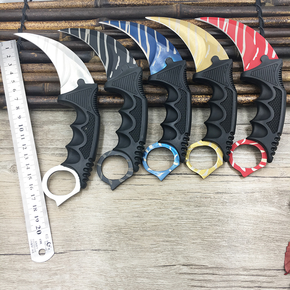 CS GO counter strike hawkbill tactical karambit neck knife sharp fight camp hike outdoor self-defense offensive image