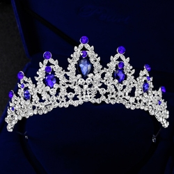 Luxury Wedding Tiara Women Headdress Queen Princess Headwear Bride Crown Blue Stone