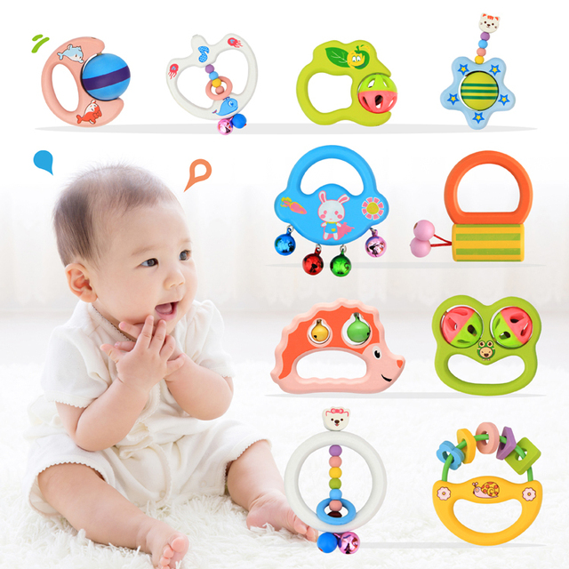 Wooden Toys 3 6 Months 0 1 Years Old Newborn Baby Rattle Bell Tong
