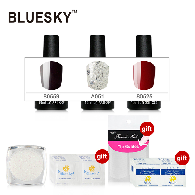 3PCS 100% Genuine Bluesky Gel Lacqure Private Lable Easy Soak off Gel Polish 80559 A051 80525