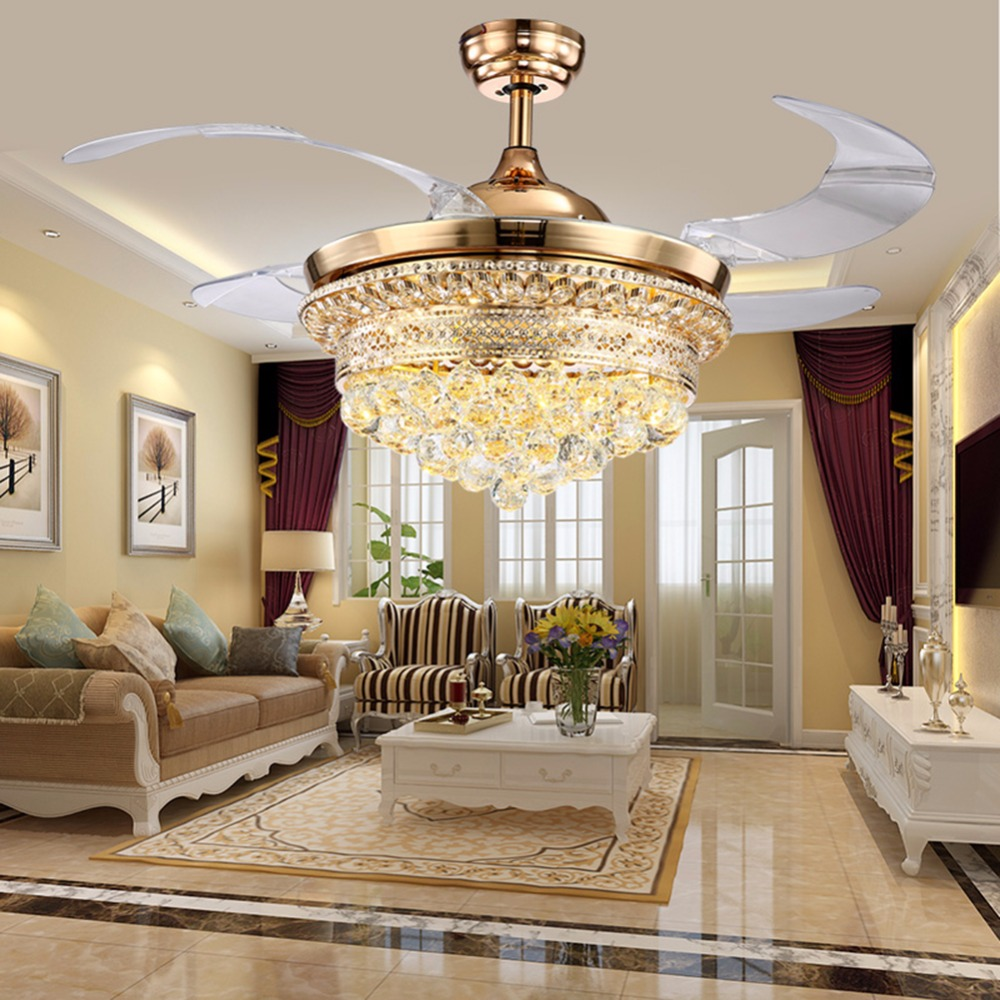 Luxury Ceiling Fan Us 328 42 Inch Ceiling Fan Promoting Natural Ventilation Invisible Fan With Luxury Crystal Dimmable Chandelier Controlled By The Remote In Ceiling