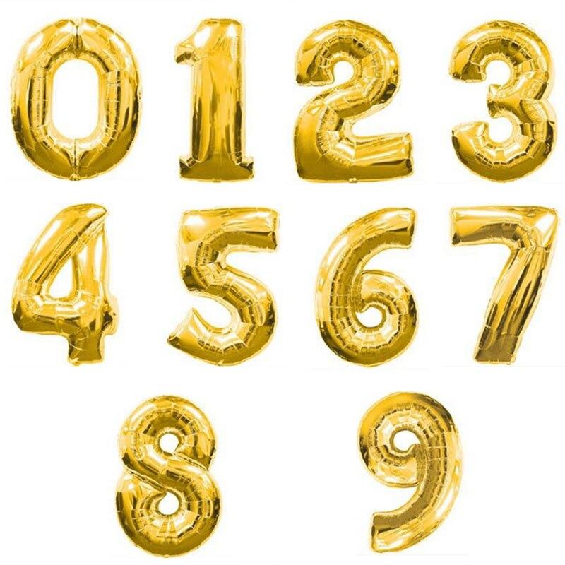 Popigist 32 дюйма золото дешевые количество Шарики цифра воздушные шарики Happy День рождения украшения Шарики Рождество свадьба письмо