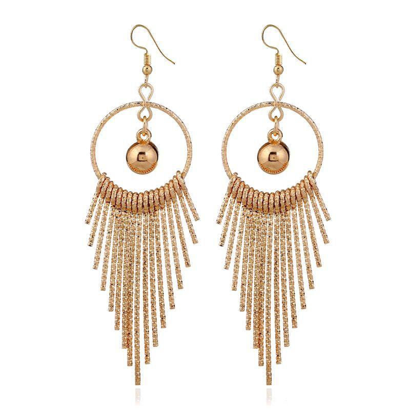 EK44 European American Exaggerate Big Round Swing Earrings For Women Geometric Shiny Tassel Long Drop Brincos Fashion Jewelry 2