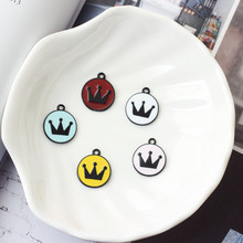 10pcs Black Crown Round Shape Enamel Charms Pendants Floating Fit Handmade DIY Bracelet Hair Jewelry Decor Accessory FX072