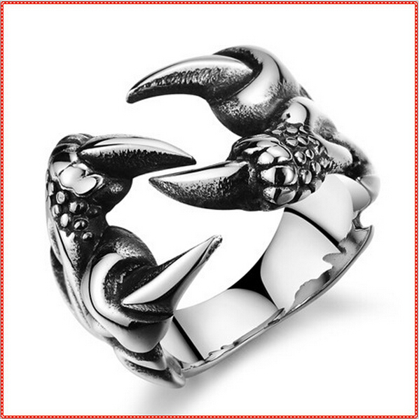 2017 New Fashion Punk Rings For MenEvil King Eagle Claw Dragon Boys Engagement Ring