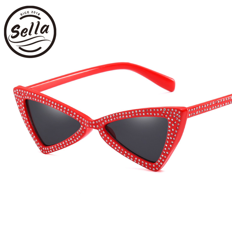 Sella 2018 New Fashion Women Cateye Tie-bow Shape Sunglasses Brand Designer Ladies Triangle Diamond Decoration Sun Glasses