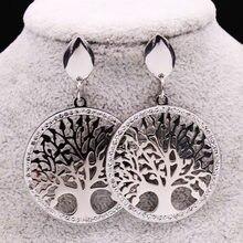 2021 árvore da vida brincos de cristal de aço inoxidável feminino grande cor prata brincos jóias pendientes cristal e612736