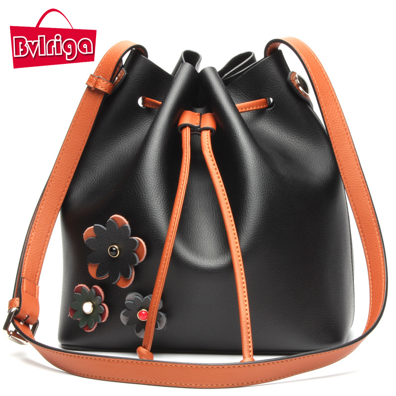 ФОТО BVLRIGA Women Leather handbags big size hit color Bucket bag Casual Fashion Shopping bag Shoulder bag Brand Genuine leather bag