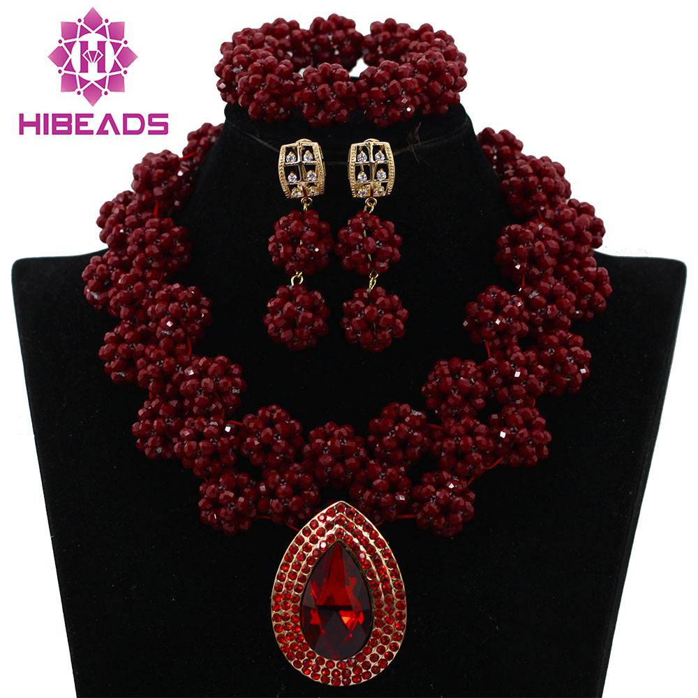 HOT Burgundy Crystal Beads Costume Fashion Lace Jewelry Set Wine African Wedding Beads Statement Necklace Free Shipping ABK796 burgundy cami playsuit with lace details