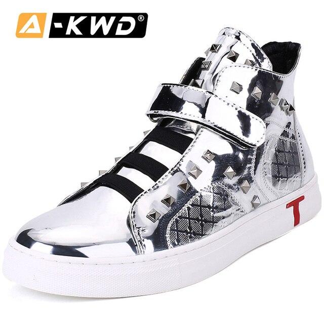 Silver Men Casual Shoes Leather Men's