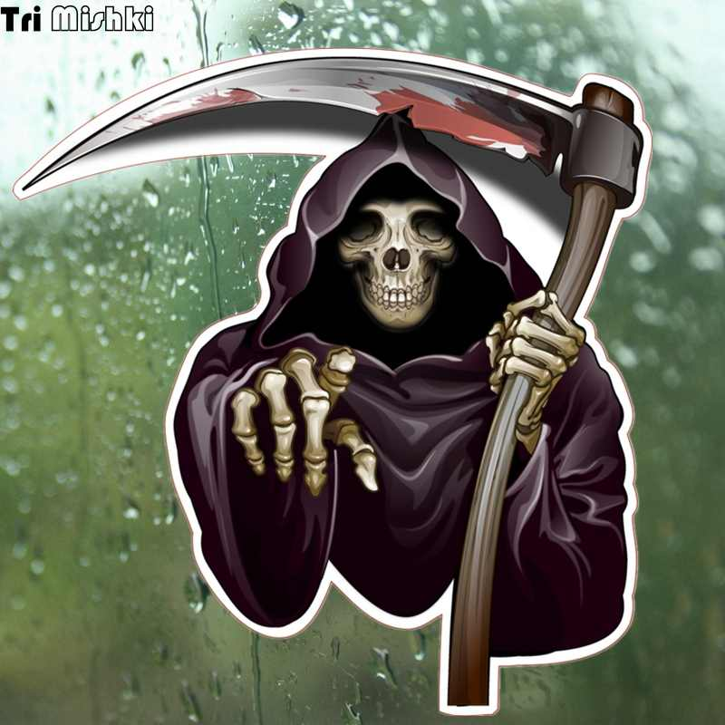 Tri Mishki WCS080 14.5*14cm Pickaxe axe death skull car sticker funny colorful  auto automotive decals stickers