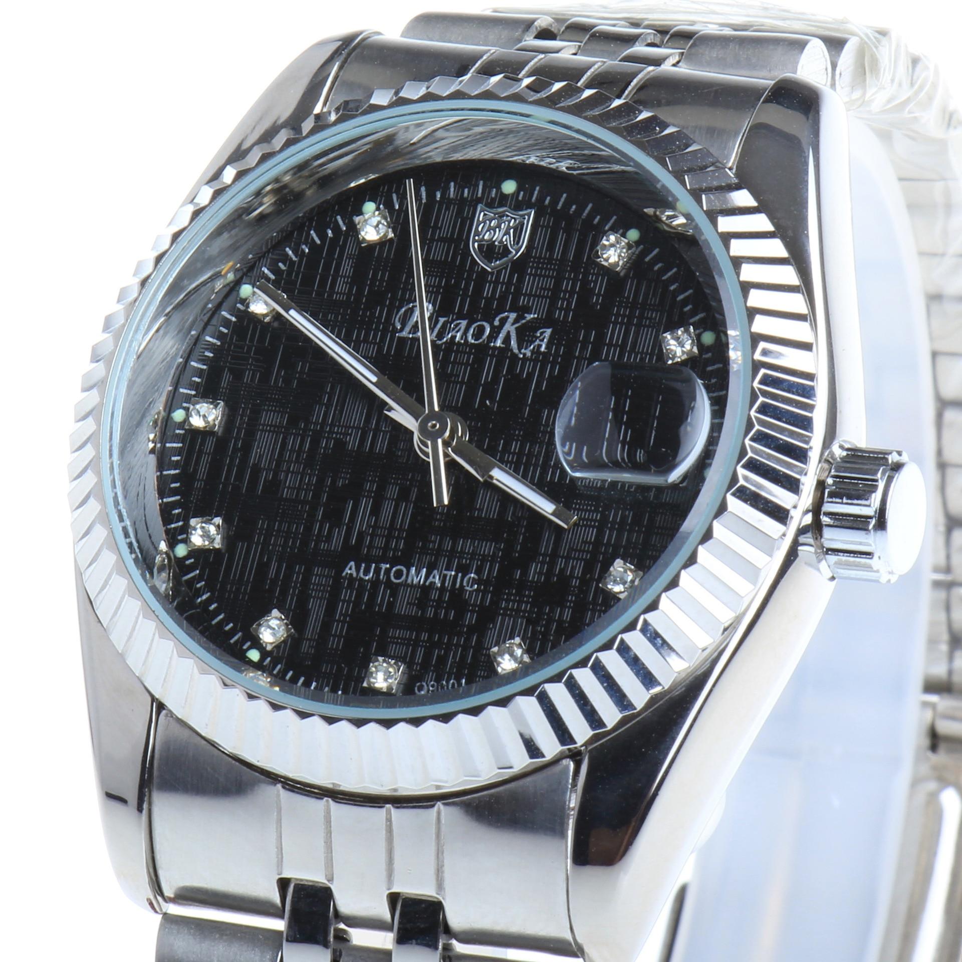 BIAOKA Watches Classic Mens AUTO Date automatic Mechanical Watch Self Winding Analog Skeleton Black steel strip