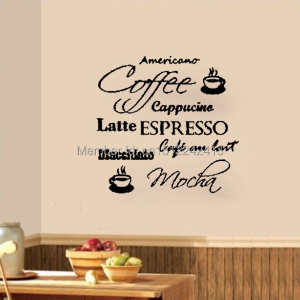 Coffee Espresso Latte Cafe Ivory Brown Kitchen Curtains: Coffee Cafe Cappucino Latte Mocha Wall Decals Vinyl