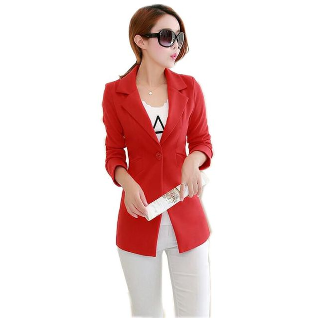 506aba8687d 2018 New Long Blazers Jacket Women Plus Size 3XL Spring Autumn One Button  Long Suit Elegant