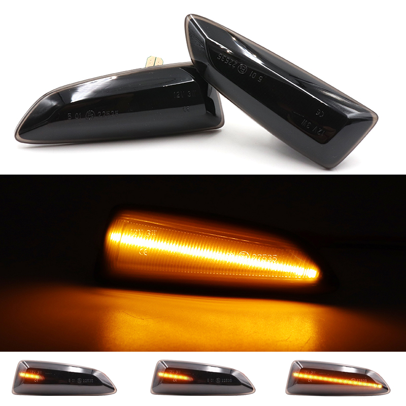 2Pcs LED Amber Dynamic Flowing Turn Signal Side Marker Light For Opel Astra J K 2015 Zafira C Insignia B Grandland X 2017