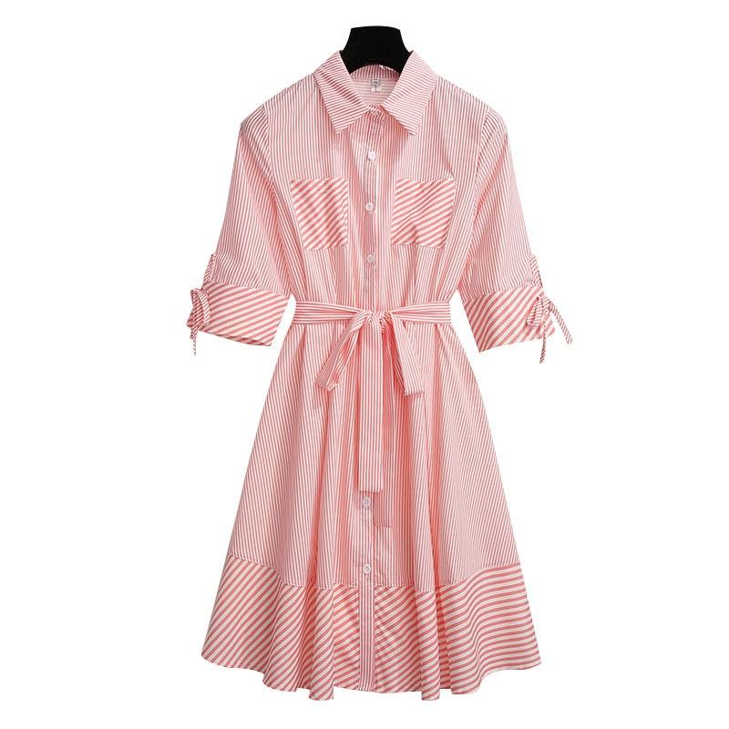 2019 Summer New Fashion Striped Short sleeve Shirt Dress Women Single Breasted Elegant Dress Women Vestido Casual ladies Dresses