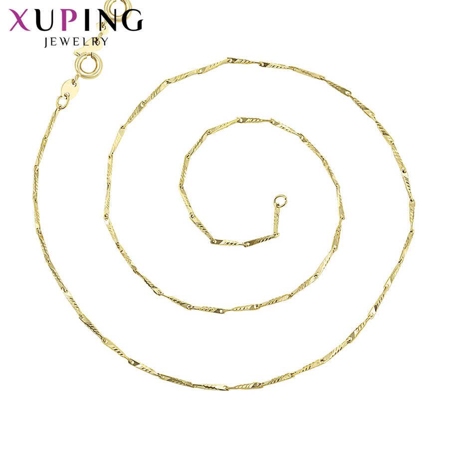Xuping ロングシンプルなスタイルライトイエローゴールド色メッキネックレスファッション女性ギフトのため S100.5-45252