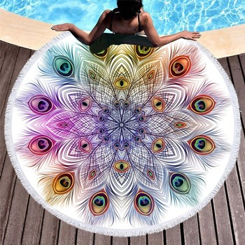 Fashion Peacock Feather Print Round Beach Towel for Adults Faux Silk Yoga Mat Women Blanket Summer Picnic Mandala Towels