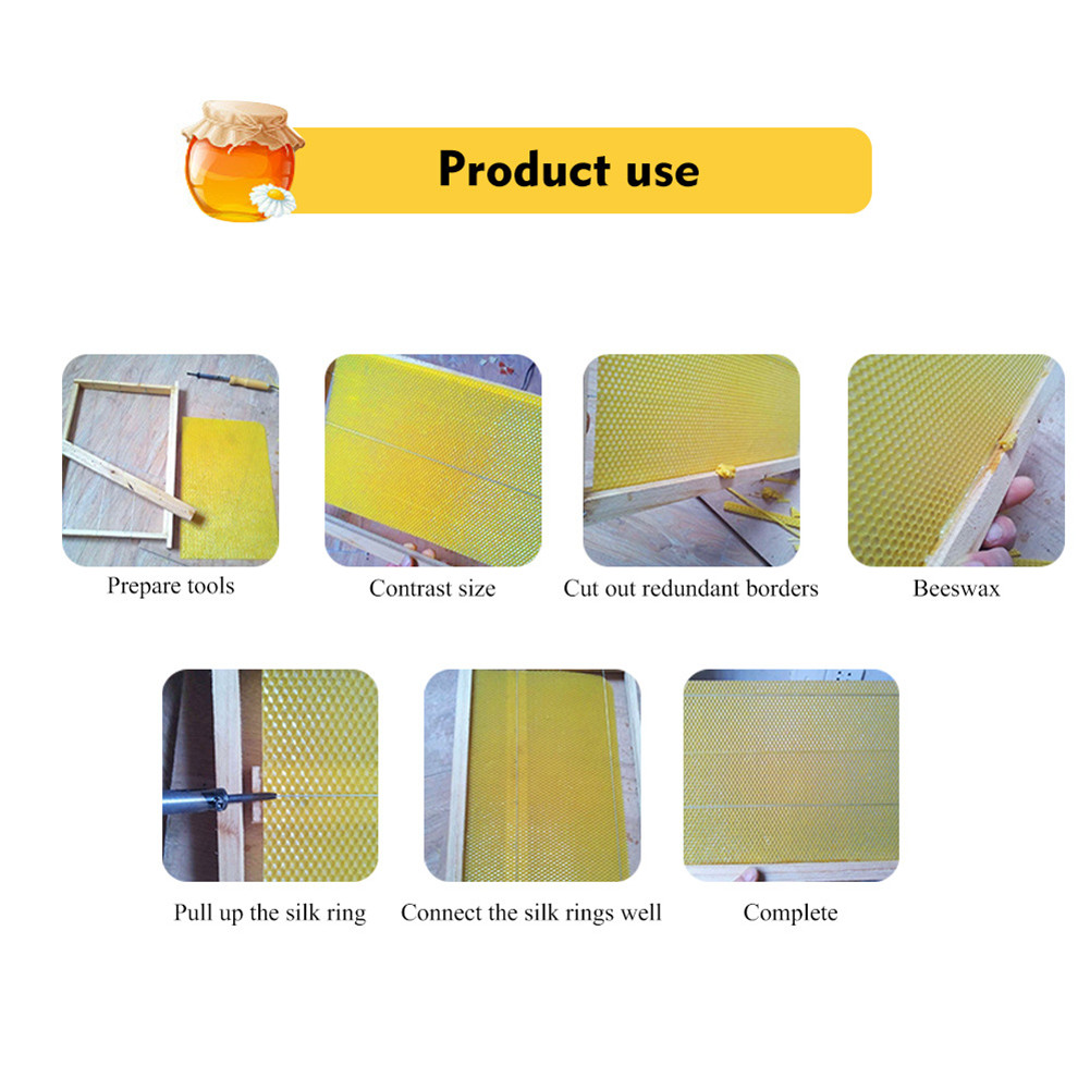 30x Beeswax Sheets Texture Bee Wax Coated Honey Frame Foundation Flake Nest Base