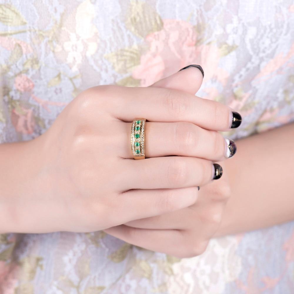 18 Karat Gelbgold Grün Smaragd Ring Natürlicher Diamant Hochzeit - Edlen Schmuck - Foto 5