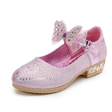 Spring Autumn Kids Shoes Butterfly-knot Rhinestone Princess For Wedding party Bling Girls Dancing 3-15T