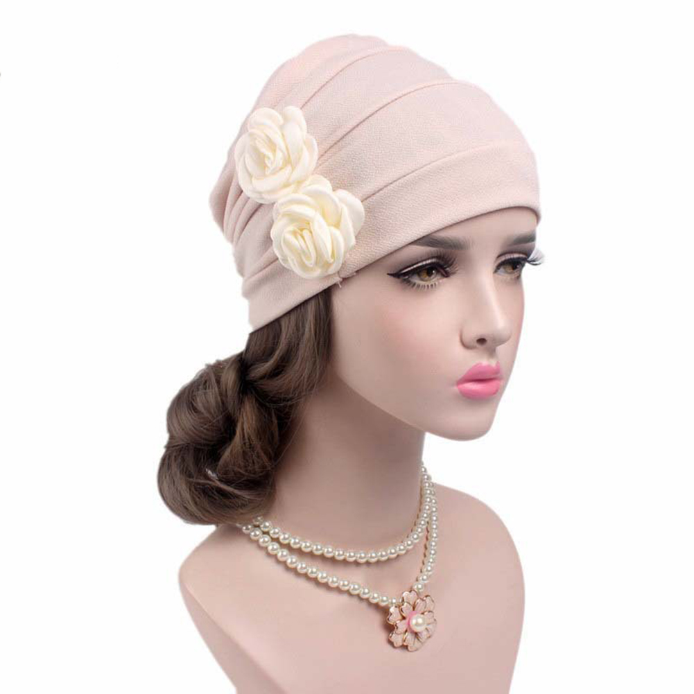 New 2017 Womens Elegant double 3D Flower beanie Pleated sleep cap Chemo Cancer hat Confinement caps