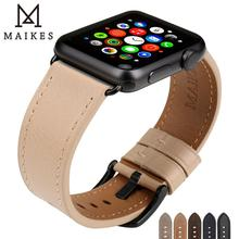 MAIKES For Apple Watch Band 44mm 40mm 42mm 38mm Series 4 3 2 All Models iWatch Bracelet Leather Apple Watch Strap Watchband цена и фото