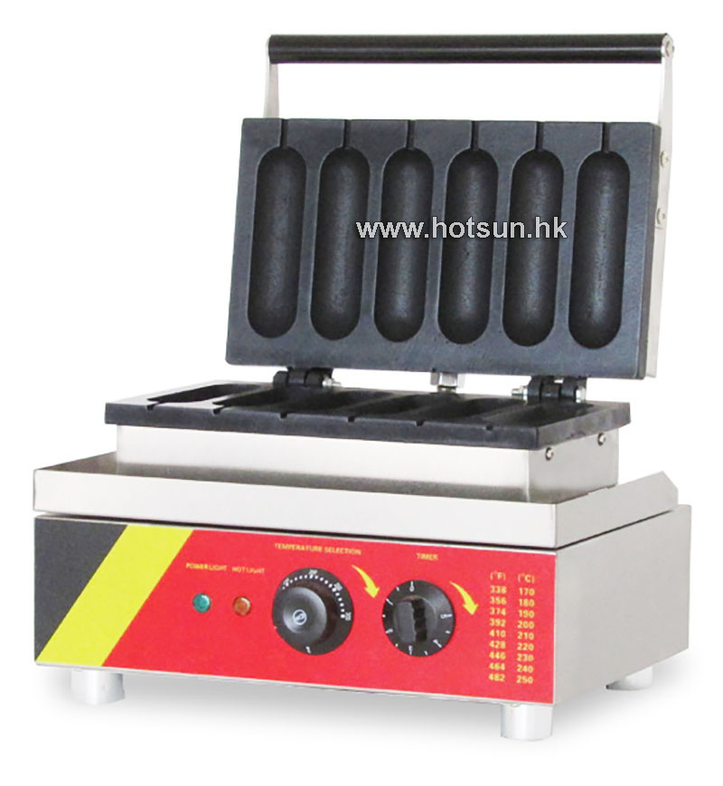 Commercial Non-stick 110V 220V Electric 6pcs French Hot Dog Waffle Stick Baker Maker Iron Machine