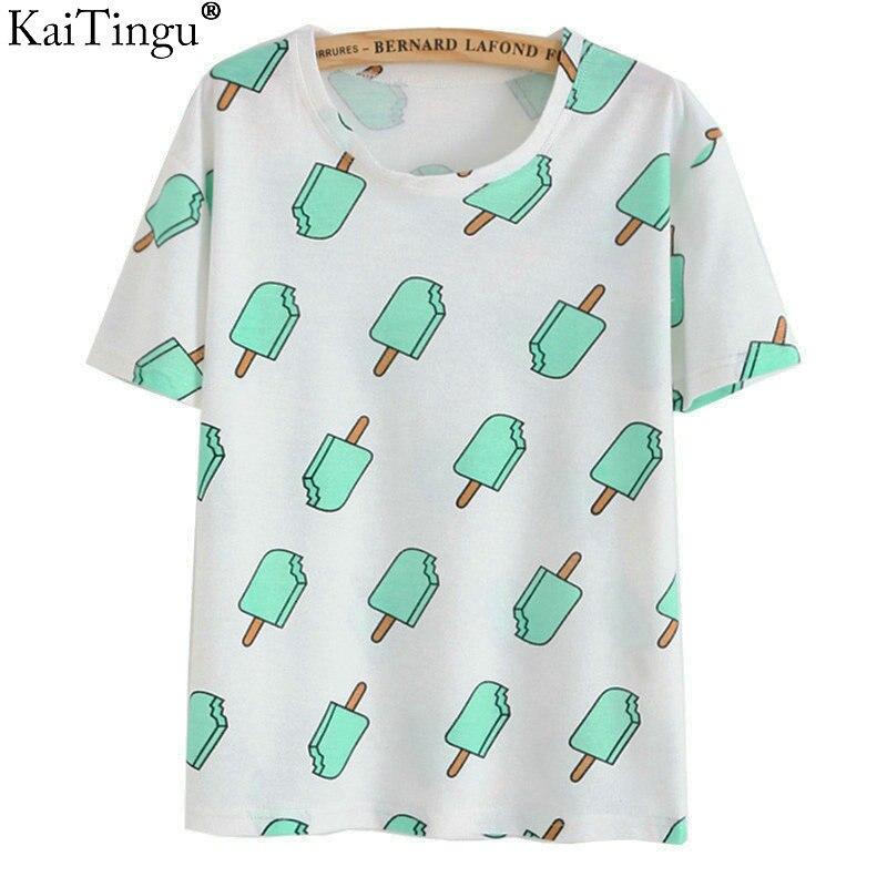 KaiTingu Brand 2018 New Fashion Vintage Summer Style Harajuku T Shirt Women Clothes Tops Emoji Funny Tee Shirts Ice Cream Print